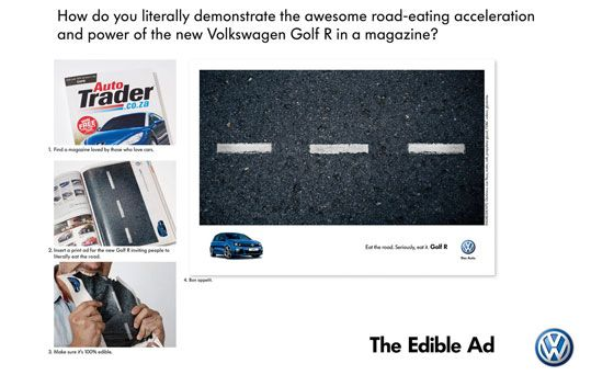 How do you literally demonstrate the awesome road-eating acceleration and power of the new Volkswagen Golf R in a magazine? The VW Editable Ad.